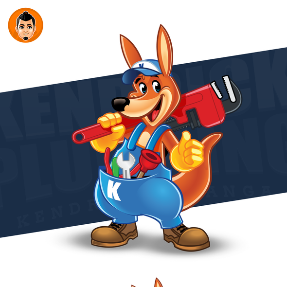 Wrench design with the title 'Friendly Kangaroo Logo Mascot'