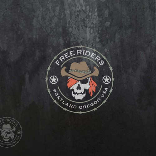 Skull and crossbones logo with the title 'Free Riders'