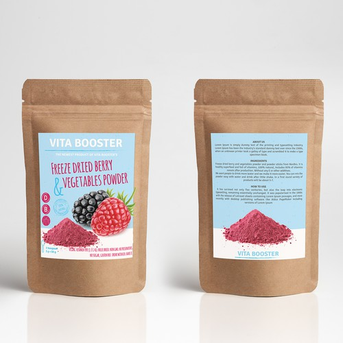Powder packaging with the title 'Packaging design proposal for dried berry powder'