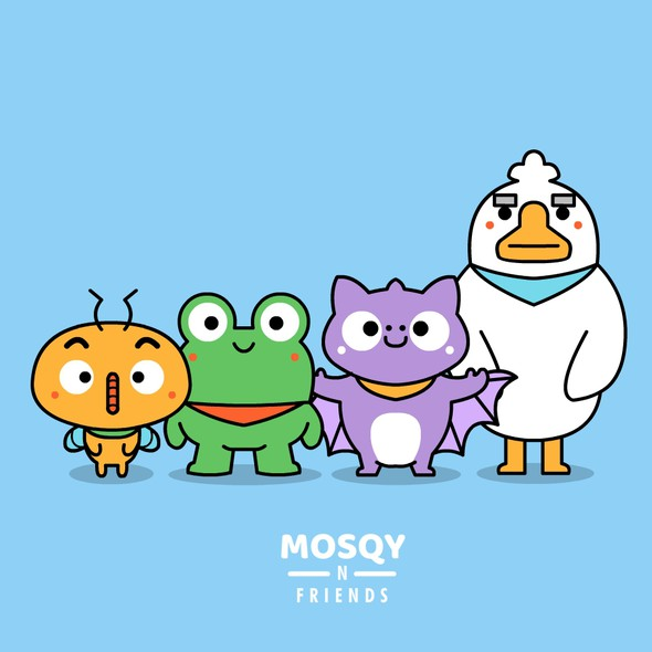 Mosquito design with the title 'Mosqy n Friends'