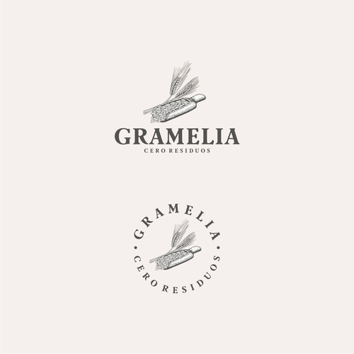 Organic food logo with the title 'Gramelia organic design logo.'