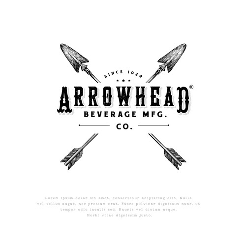 Beer design with the title 'Arrowhead Beverage MFG'