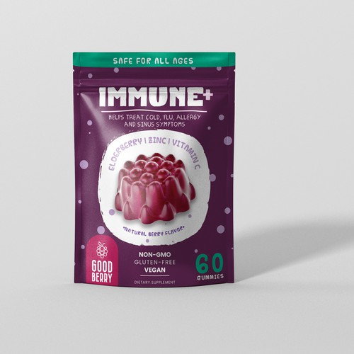 Supplement packaging with the title 'Edelberry Gummies package design'