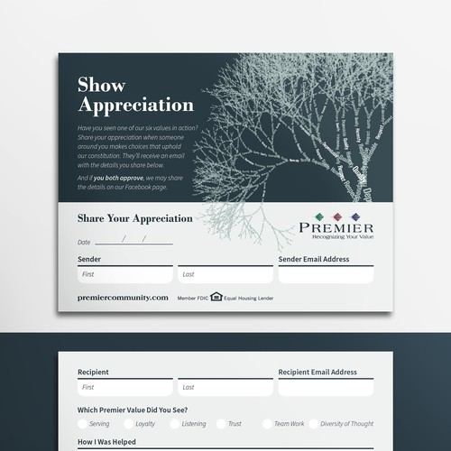 Subtle design with the title 'Appreciation card'
