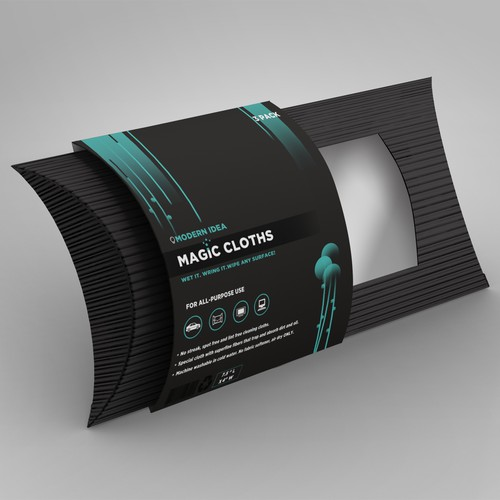 Clothing packaging with the title 'Magic Cloths'