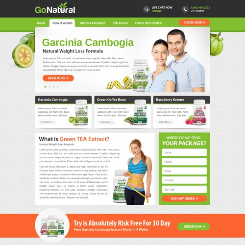 Supplement website with the title 'Design a website for health supplement company Go Natural!'