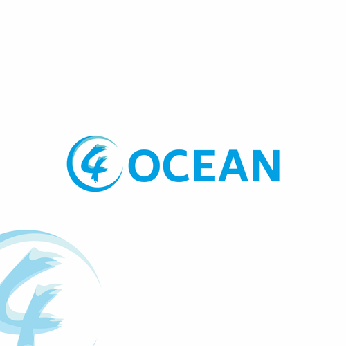 Ocean wave logo with the title '4 OCEAN LOGO'