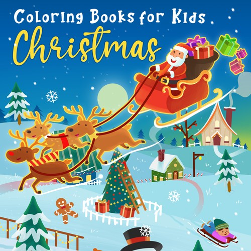 X-mas design with the title 'Coloring book cover for Christmas'