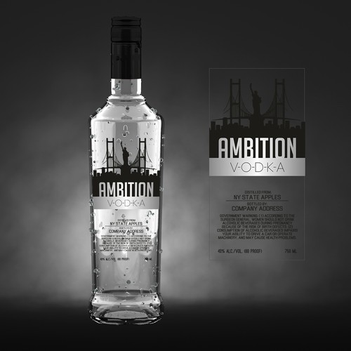 Alcohol label with the title 'Modern label design for Ambition vodka'