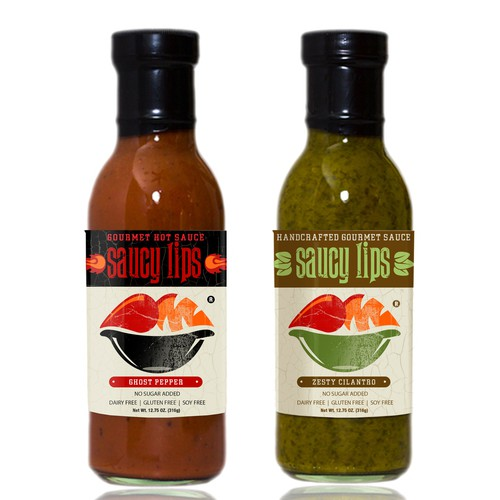 Hot sauce design with the title 'Saucy Lips'