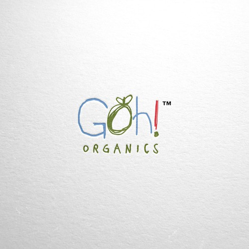 Handwritten design with the title 'Organic logo for baby food brand'