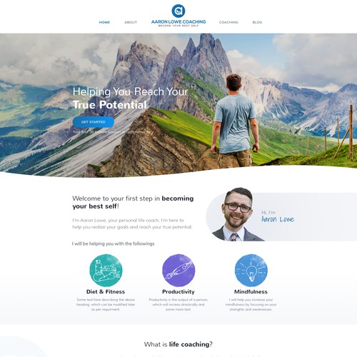 Unique website with the title 'Home Page Concept for Aaron Lowe Coaching'