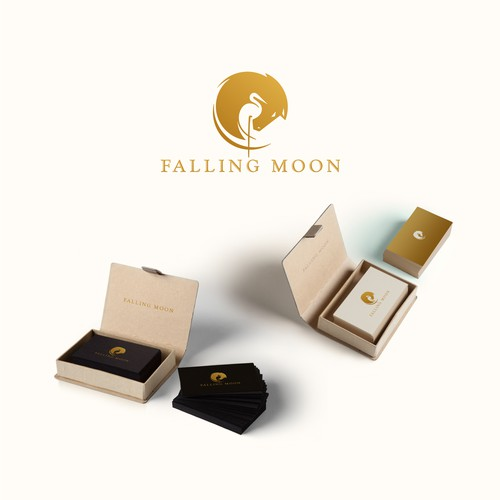 Stork design with the title 'Welsh ponies, Falling Moon Farm Logo'
