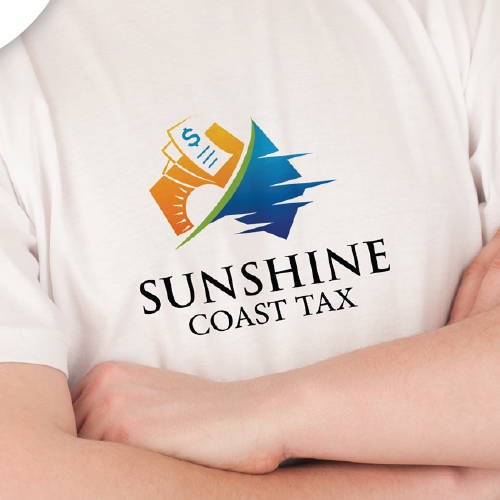Tax logo with the title 'Sunshine Coast Tax Unsold Logo Proposal'