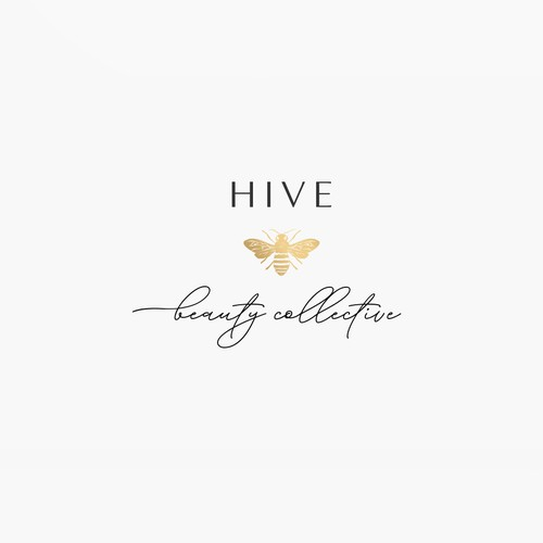 Bee logo with the title 'Logo design with yellow gold bee for Hive Beauty Collective'