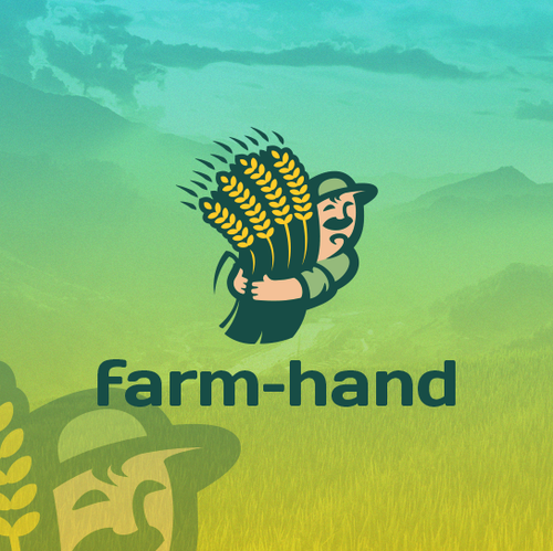 Comic logo with the title 'farm hand'