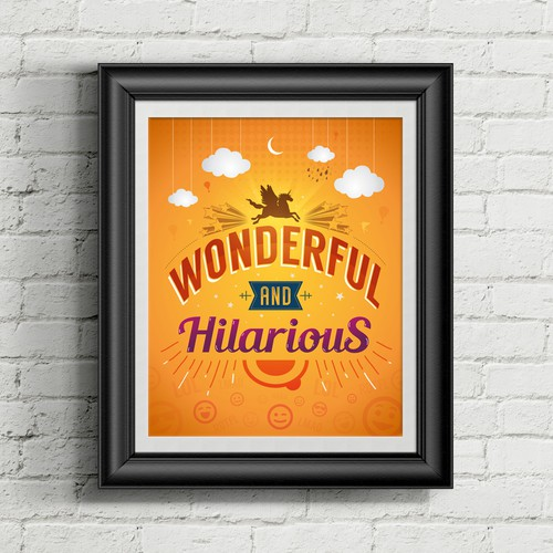 Happy artwork with the title 'Wonderful & Hilarious Poster'