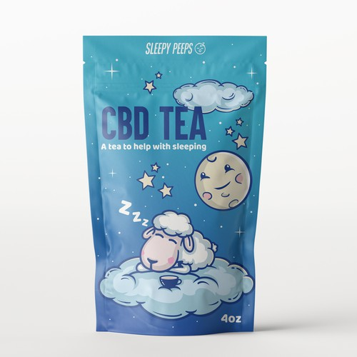 Cartoon packaging with the title 'Product packaging for CBD Tea'