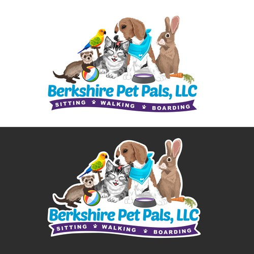 Parrot logo with the title 'Illustrated Logo for Berkshire Pet Pals, LLC'