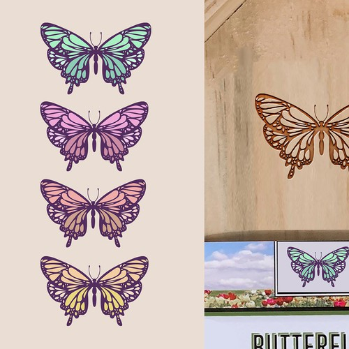 Butterfly artwork with the title 'Butterfly Illustration Design - 1) Color and 2) Black and White'