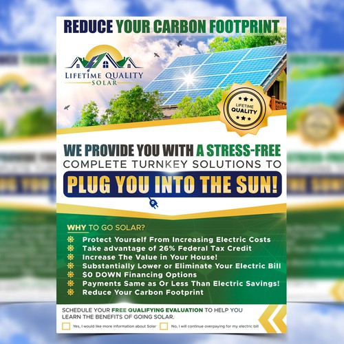 Solar design with the title 'Flyer design for Lifetime Quality Solar'