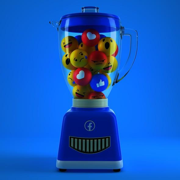 Emoji artwork with the title 'Facebook Blender editorial illustration'