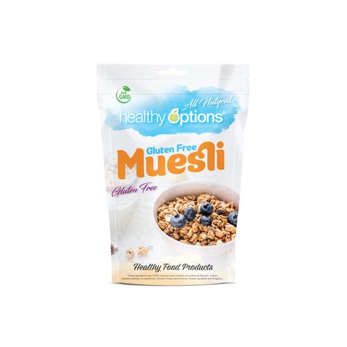 Flexible design with the title 'Healthy Options Muesli'
