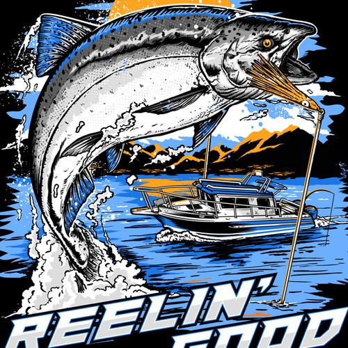 Hook design with the title 'T_shirt Design for Reelin Good'