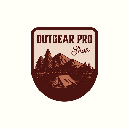 Tent logo with the title 'Outgear Pro Shop'