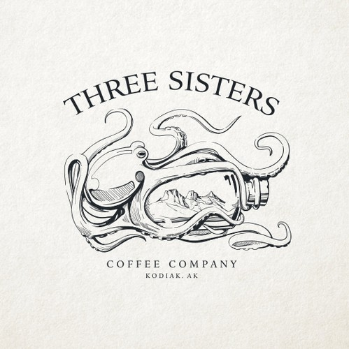 One-color logo with the title 'Three Sisters Company Logo'