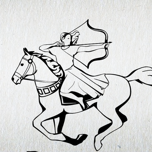 Ancient logo with the title 'Create a traditional, dignified logo design for Running with Horses'