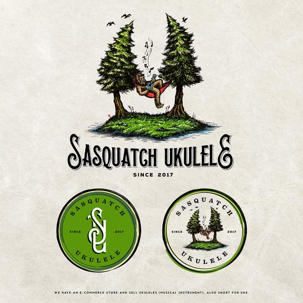 Ukulele design with the title 'Sasquatch Ukulele'