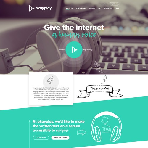 Headphone design with the title 'okplay - Give the internet a human voice'