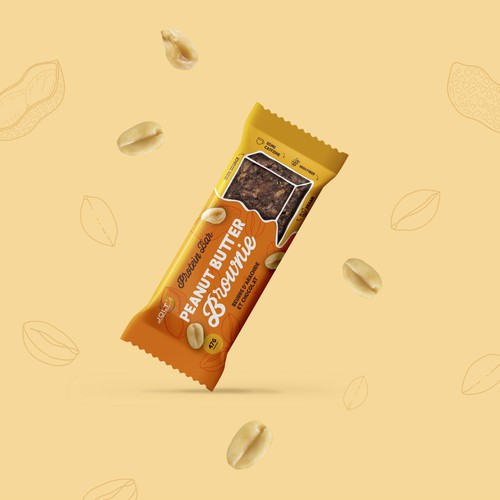 Protein bar packaging with the title 'Healthy peanut butter snack bar'