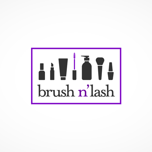 Purple and black design with the title 'Brush n' Lash cosmetic store'