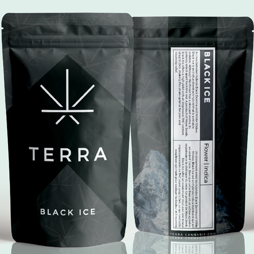 Sleek packaging with the title 'Package design for Terra Cannabis'