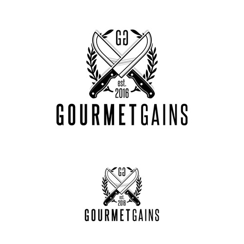 Cutlery logo with the title 'Gourmet Gains Logo Design'