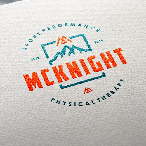 Rugged logo with the title 'Logo needed for modern, rugged, mountainous physical therapy clinic'