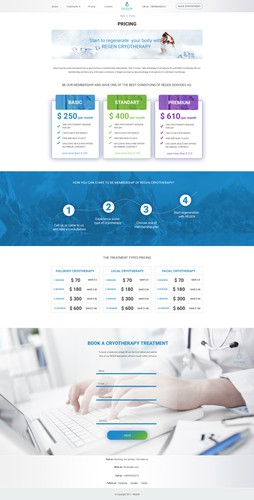 Spa website with the title 'Pricing page for Regen Cryotherapy website '