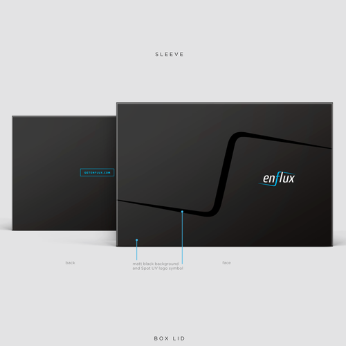 Black packaging with the title 'Enflux package design'