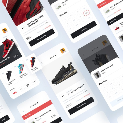 Sneaker design with the title 'Sneaker App Design'