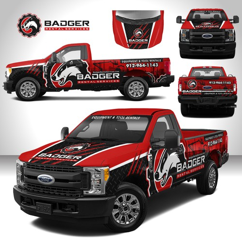 Equipment design with the title 'Tools Rentals F250 Wrap'