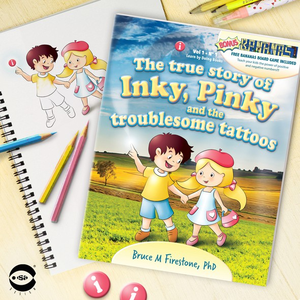 """Cartoon book cover with the title 'Book cover for """"The true story of Inky, Pinky and the troublesome tattoos"""" by Bruce M Firestone'"""