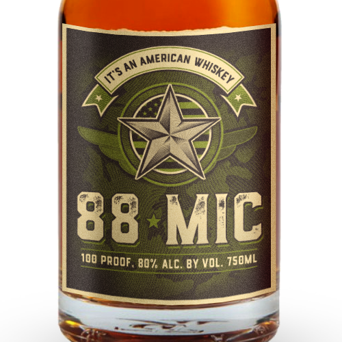 Professional label with the title 'Whisky Brand for American Veterans'