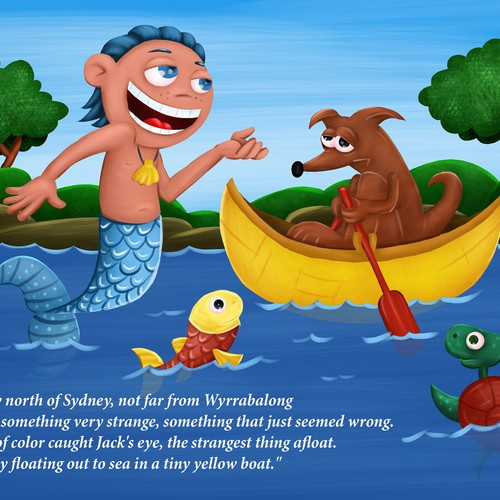 Children's book artwork with the title 'fishboy'