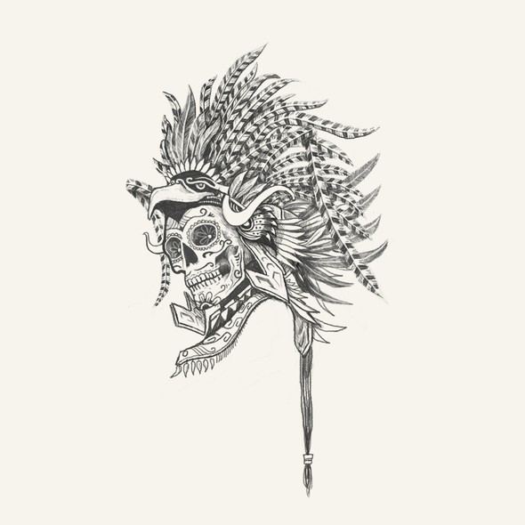 Mexican restaurant design with the title 'Provocative Mexican Headdress and Skull Design'