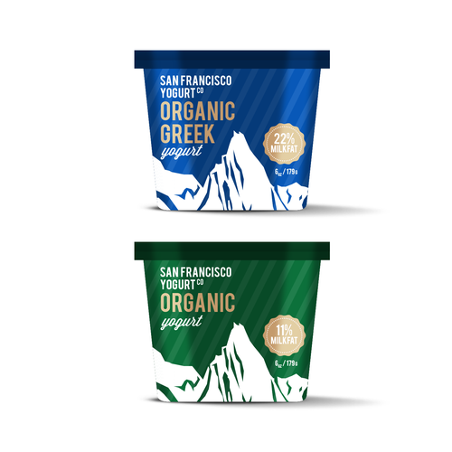 Dairy design with the title 'Design packaging for San Francisco Yogurt, maker of high-fat yogurt for adventurous people'