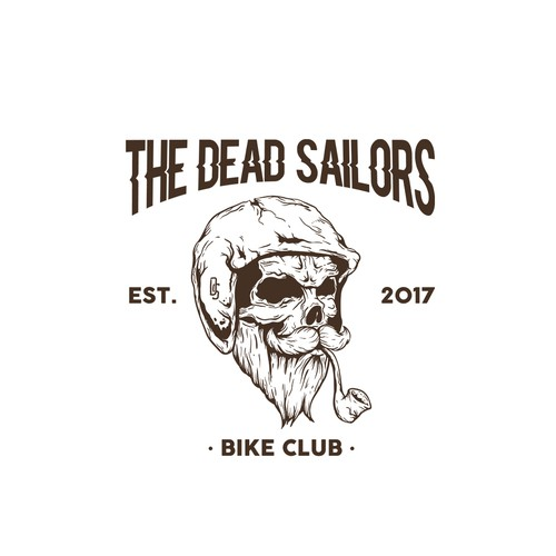 Sailing logo with the title 'Skull Sailor Hipster Logo Illustration '