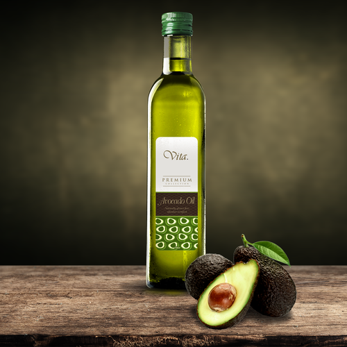 Label packaging with the title 'Avocado Oil'