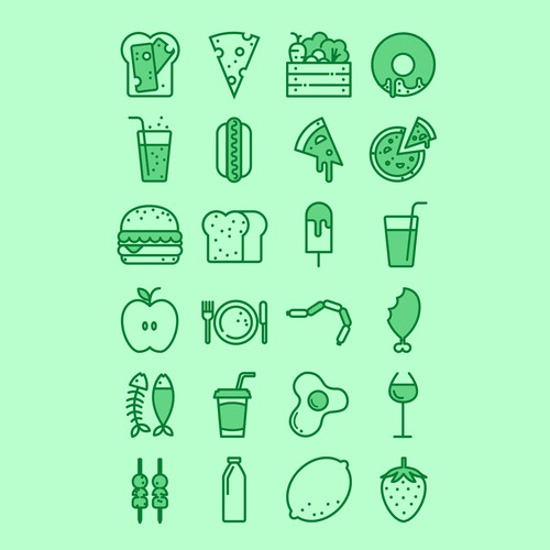 Icon illustration with the title 'Food icons'